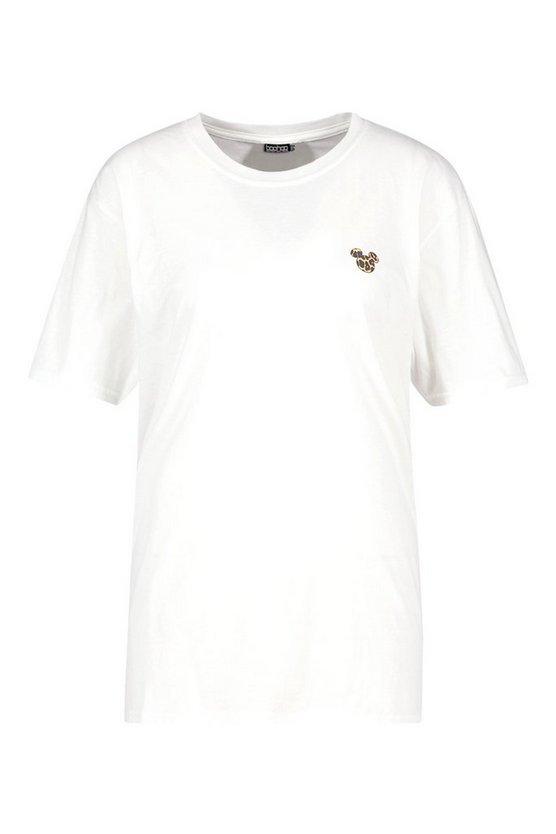 Disney Leopard Mickey Slogan T-shirt   Boohoo white