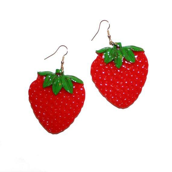 Huge Strawberry Earrings Fruit Earrings Tropical Hawaii   Etsy