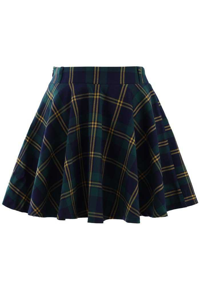 Green Plaid Check Skater Skirt - Retro, Indie and Unique Fashion