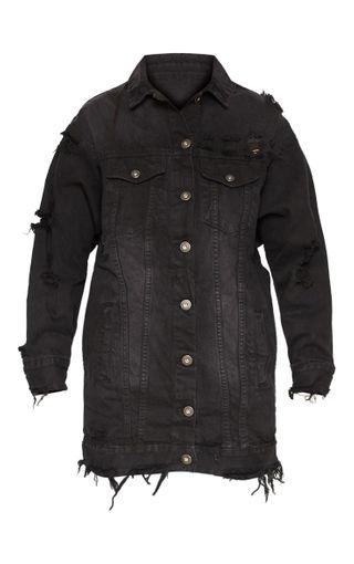 Black Longline Distressed Denim Jacket. Denim | PrettyLittleThing