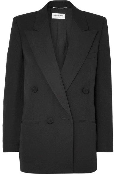Saint Laurent   Double-breasted satin-trimmed wool blazer   NET-A-PORTER.COM