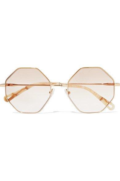 Chloé | Octagon-frame gold-tone and tortoiseshell acetate optical glasses | NET-A-PORTER.COM