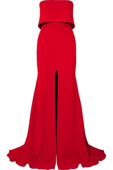 Alex Perry | Strapless split-front crepe gown | NET-A-PORTER.COM