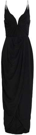 Ruched Silk Crepe De Chine Midi Dress