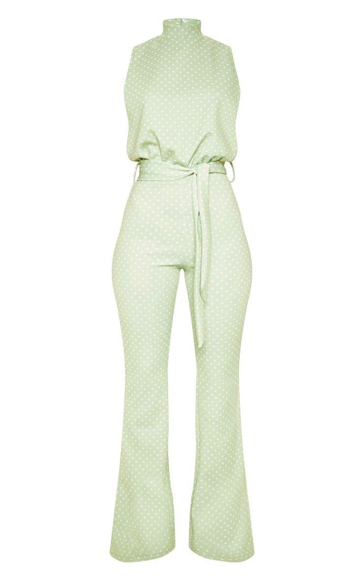Sage Green Scuba High Neck Tie Waist Jumpsuit | PrettyLittleThing USA