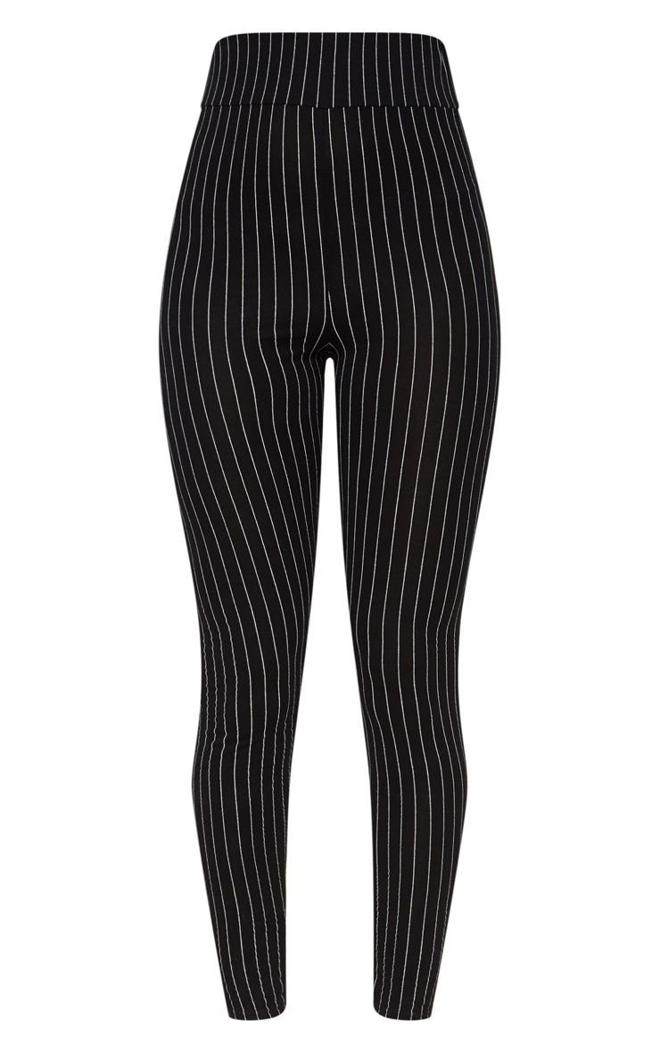 Black Pinstripe High Waisted Leggings | PrettyLittleThing USA