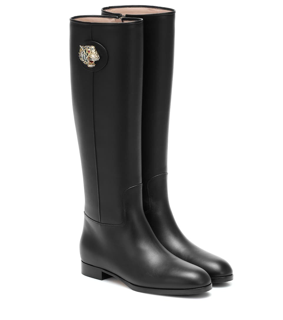 Gucci - Leather knee-high boots   Mytheresa