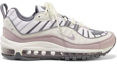 Air Max 98 Mesh, Faux Leather And Suede Sneakers - Light gray