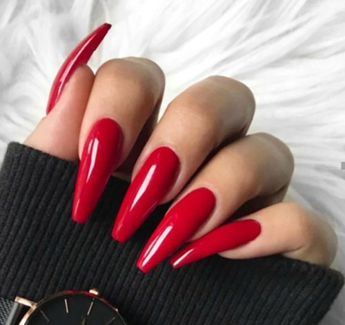 coffin red nails
