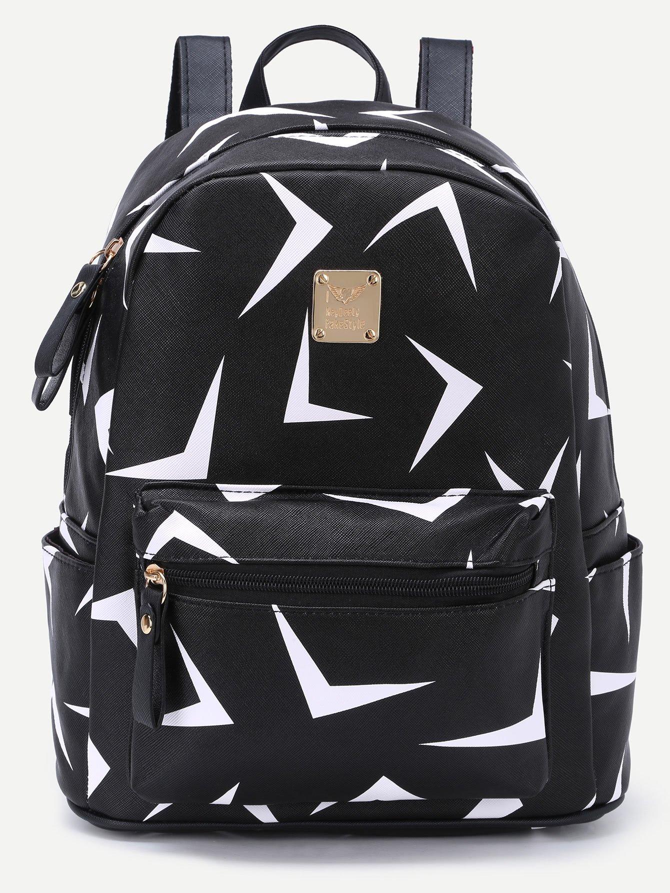 Triangle Print Zip Pocket Backpack