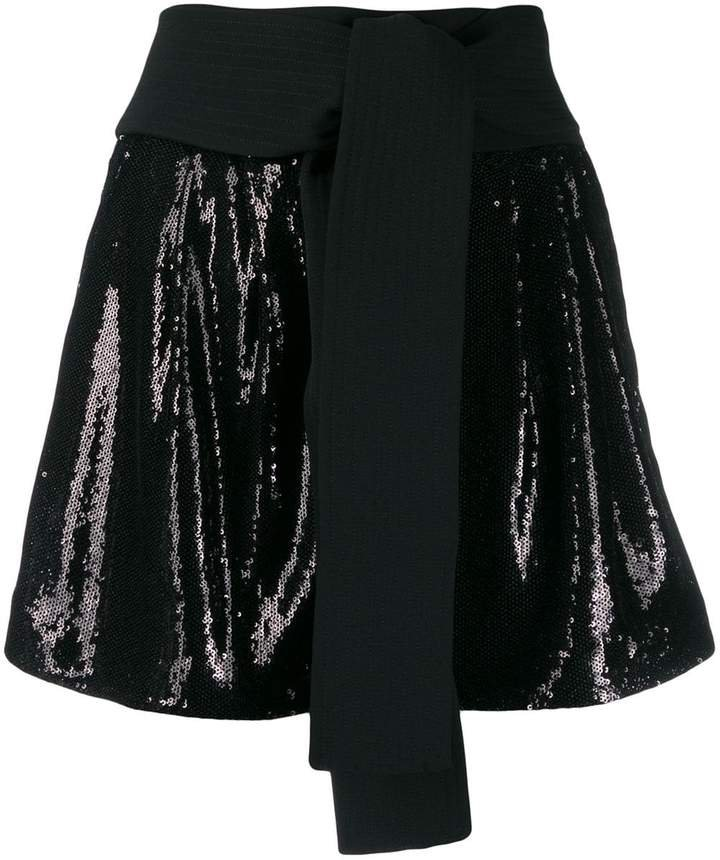 Obi belt sequin shorts