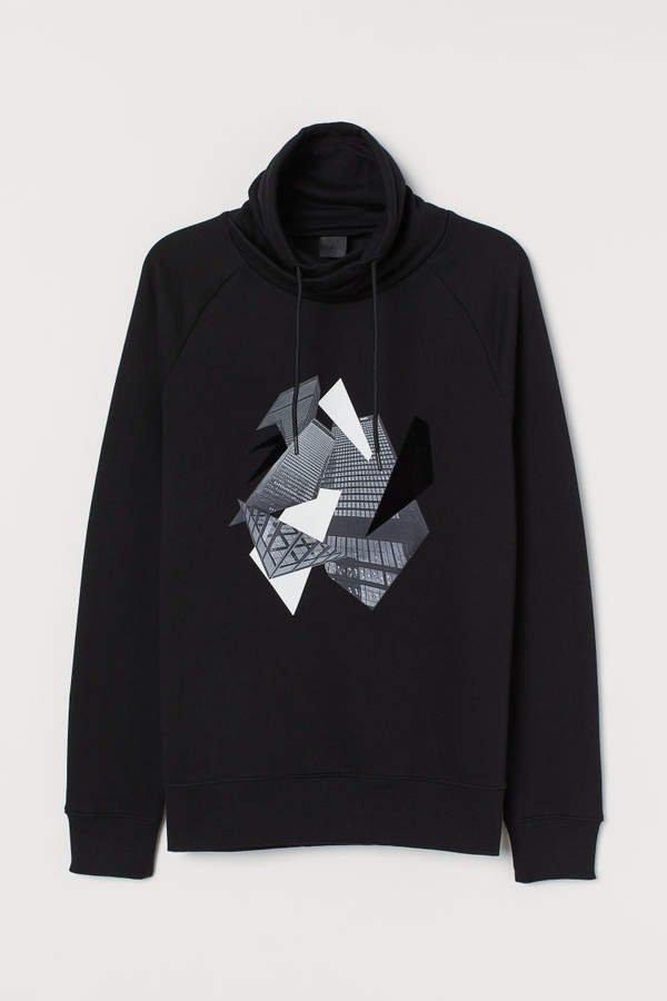 Chimney-collar Sweatshirt - Black