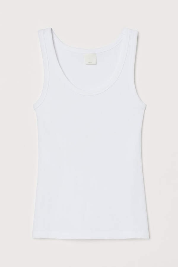 Ribbed Tank Top - White