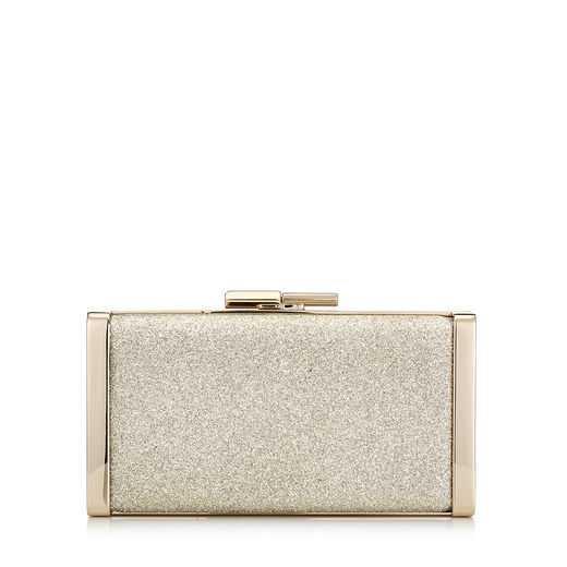 Platinum Ice Dusty Glitter Clutch Bag | J Box | Pre Fall 18 | JIMMY CHOO