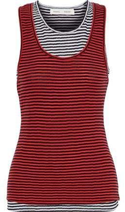 Layered Striped Cotton-jersey Tank