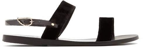 Clio Leather And Pony Hair Sandals - Womens - Black