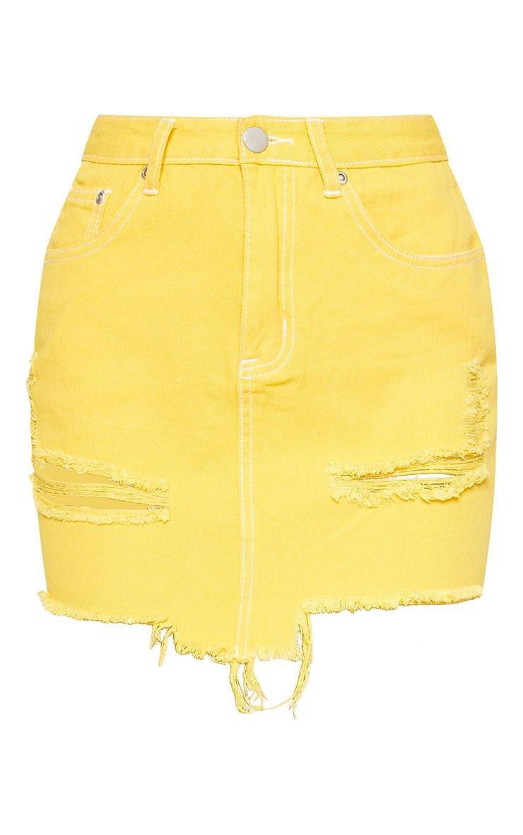 PrettyLittleThing Yellow Contrast Stitch Denim Skirt