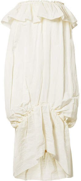 Ruffled Taffeta Midi Dress - Ivory