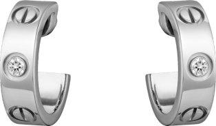 CRB8022800 - LOVE earrings, 2 diamonds - White gold, diamonds - Cartier