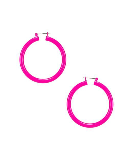 Luv Aj Rainbow Amalfi Hoop Earrings in Neon Pink (Pink) - Lyst