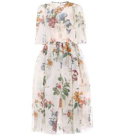 Floral silk organza midi dress