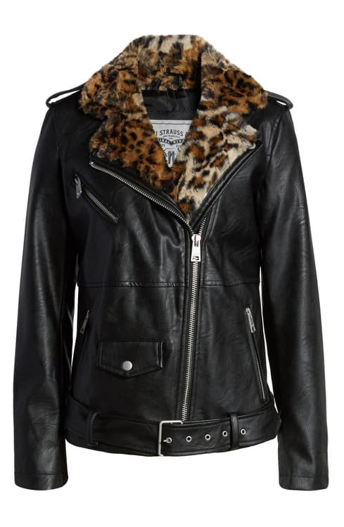 Levi's® Oversize Faux Leather Moto Jacket with Faux Fur Trim