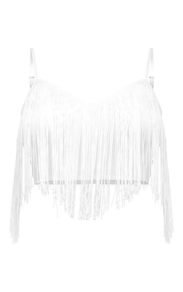 White Tassel Trim Crop Top | PrettyLittleThing