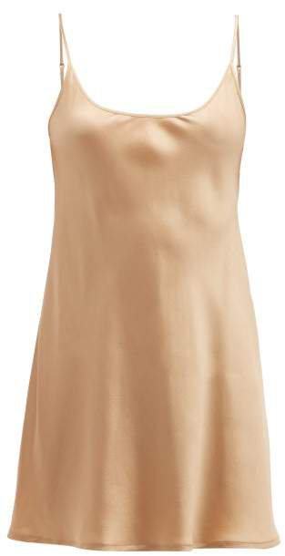 Silk Satin Slip Dress - Womens - Nude