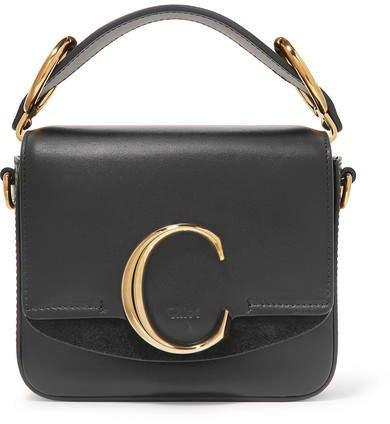 C Mini Suede-trimmed Leather Shoulder Bag - Black