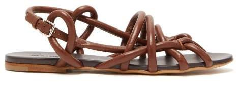 Caged Rope Strap Leather Sandals - Womens - Tan