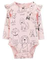 Baby Girl Character Print Flutter Bodysuit   Carters.com