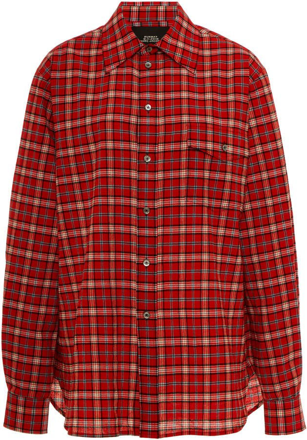 Marc Jacobs Plaid Cotton Oversized Button-Front Shirt Size: 0