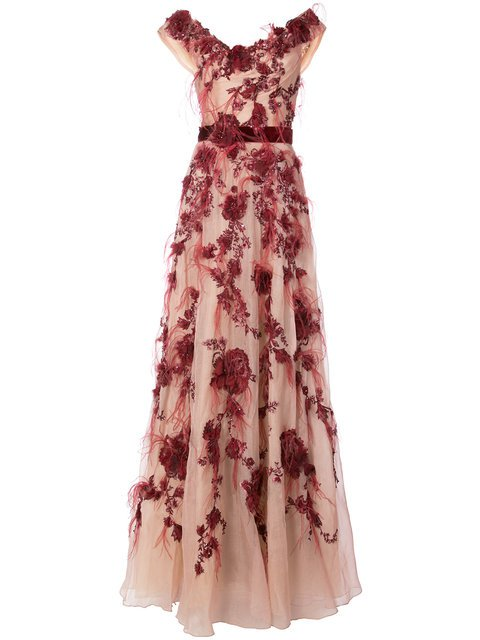 Bardot Floral Gown - Marchesa