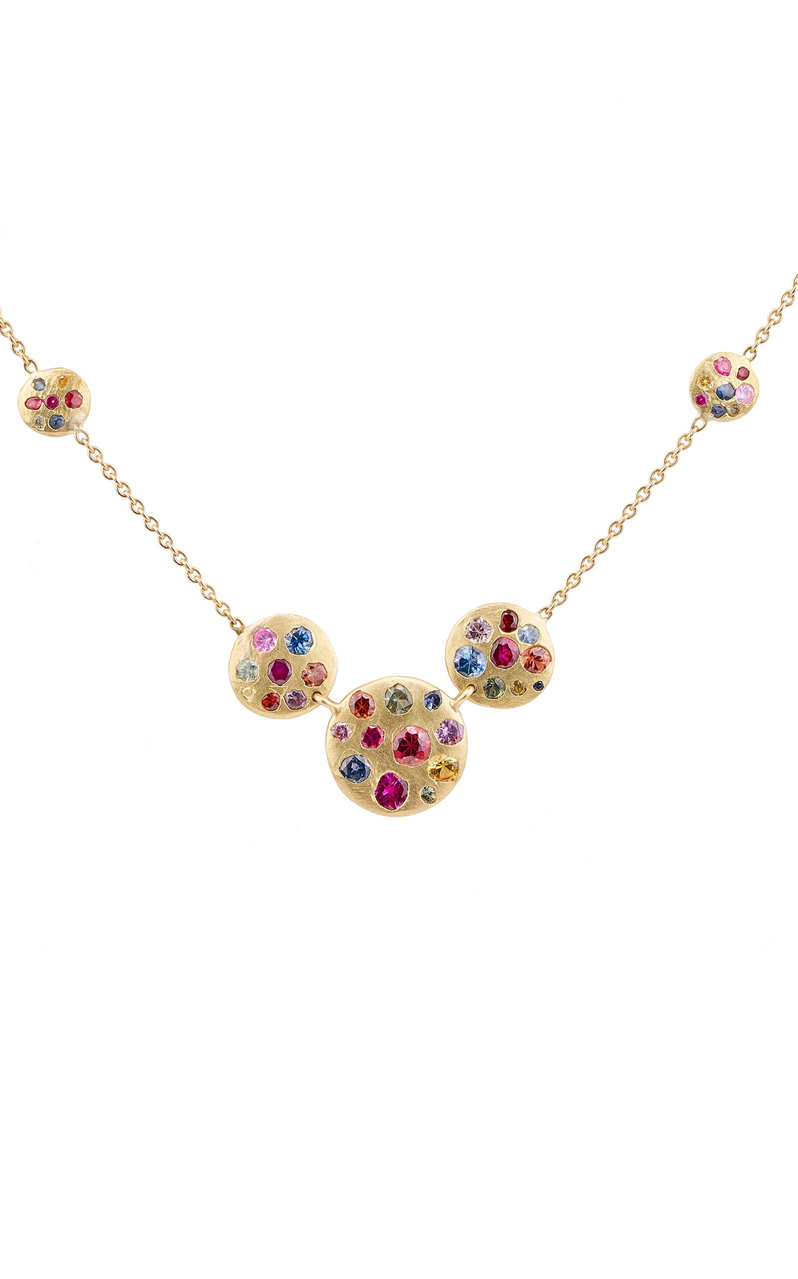 Polly Wales Cosmos 18K Gold Sapphire Necklace