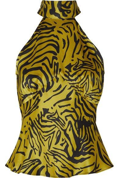 De La Vali | Vivienne tiger-print silk-satin halterneck top | NET-A-PORTER.COM