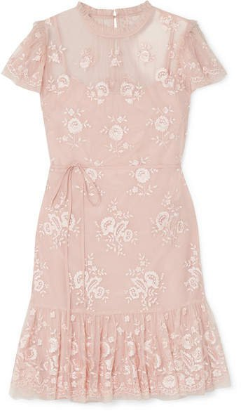 Ashley Embroidered Tulle Mini Dress - Blush