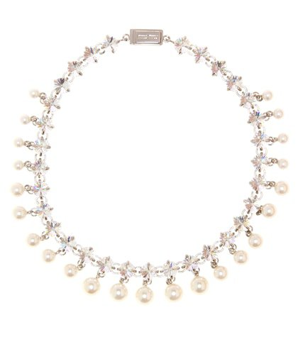 Crystal and faux pearl necklace