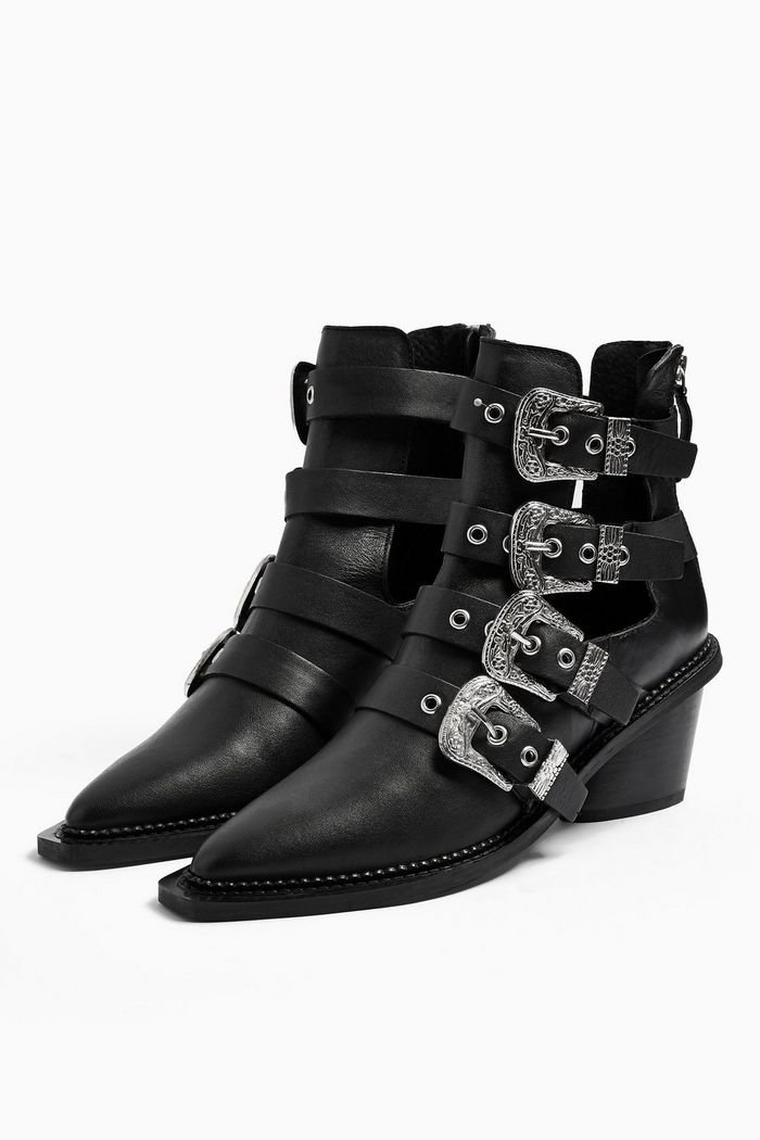 MAGIC Leather Buckle Western Boots | Topshop