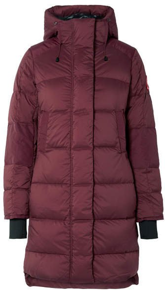 Alliston Hooded Quilted Shell Down Coat - Plum
