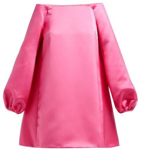Off The Shoulder Duchess Satin Mini Dress - Womens - Pink