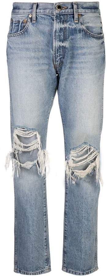 Khaite distressed straight jeans