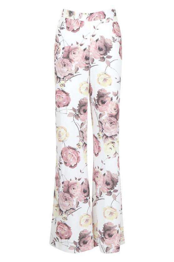 Premium Floral Print Satin Wide Leg Trouser   Boohoo white