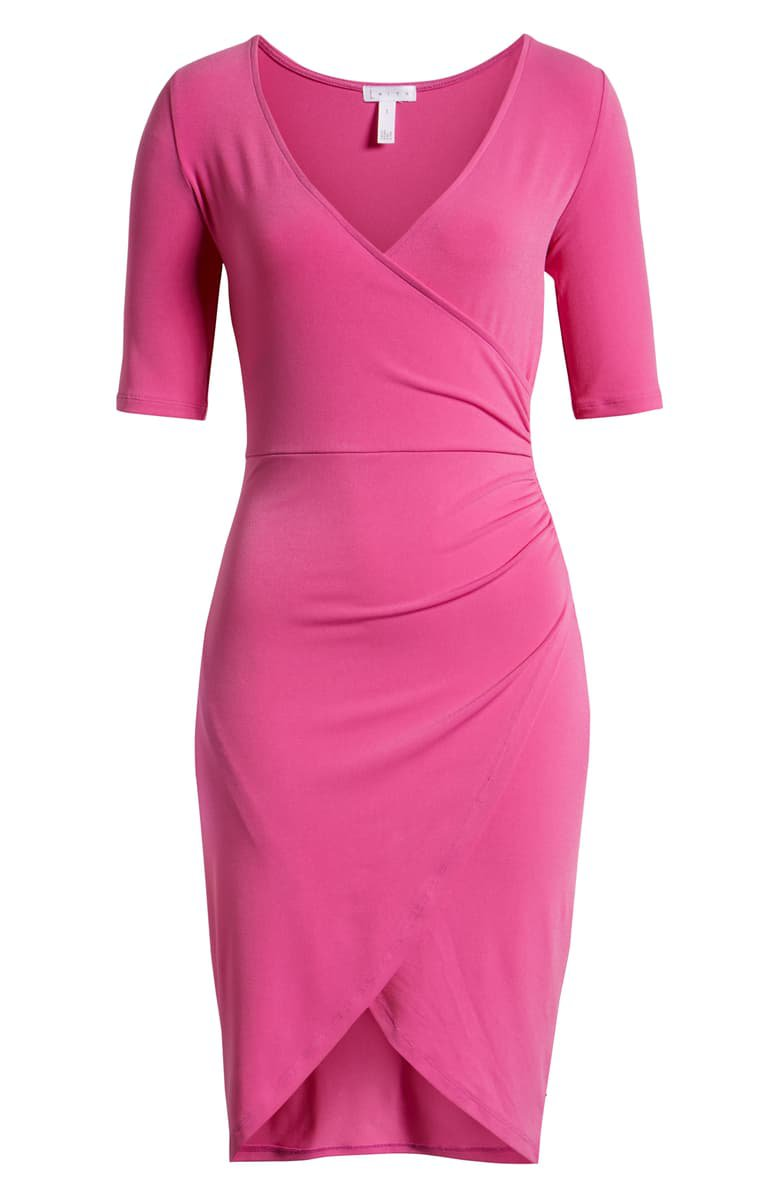 Leith Ruched Wrap Body-Con Dress purple