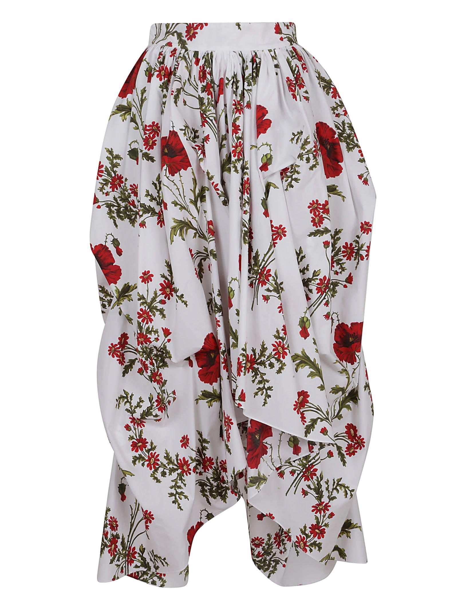 Alexander McQueen Alexander Mcqueen Floral Asymmetric Skirt