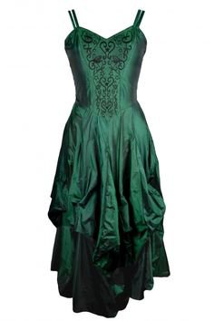 Dark Star Gothic Dress, Green Polysilk Floaty Goth Dress with Embroidery Detail