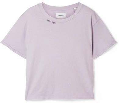 The Short Distressed Cotton-jersey T-shirt - Lavender
