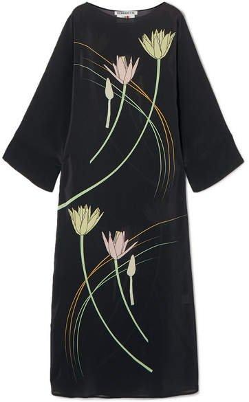 BERNADETTE - Floral-print Silk Crepe De Chine Maxi Dress - Brown