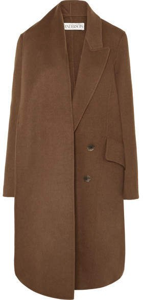 Asymmetric Double-breasted Wool-blend Coat - Brown