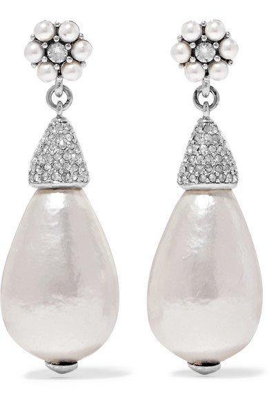 Oscar de la Renta   Silver-tone, crystal and faux pearl earrings   NET-A-PORTER.COM