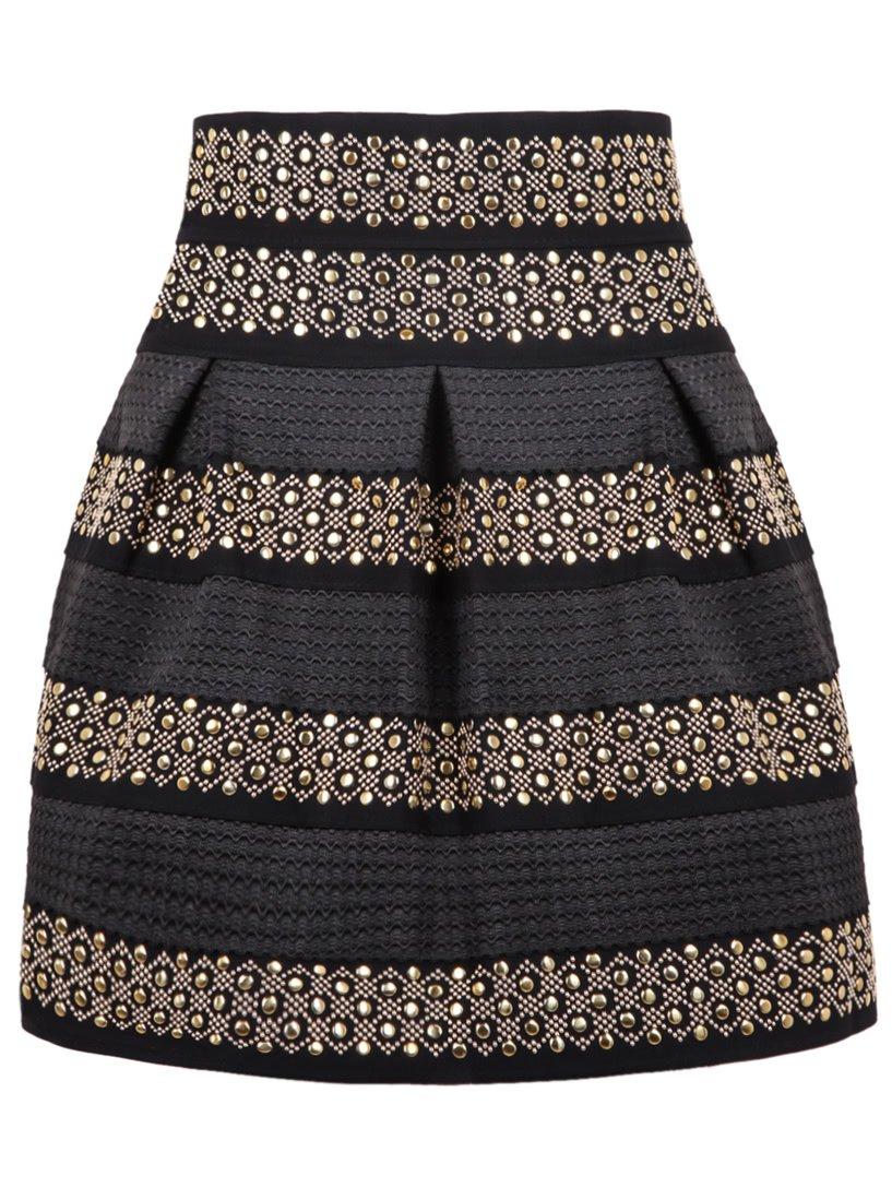 High Waist Rivet Studs Striped Skirt